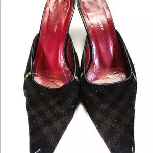 Burberry Shoes - BURBERRY SQUARE TOE MULES WOOL PLAID SIZE 36.5